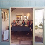 Yours truly, Janice Preston, Morton Grey, Alison May and Lisa Hill in our very grand writing 'hut' at the Bevere Gallery.